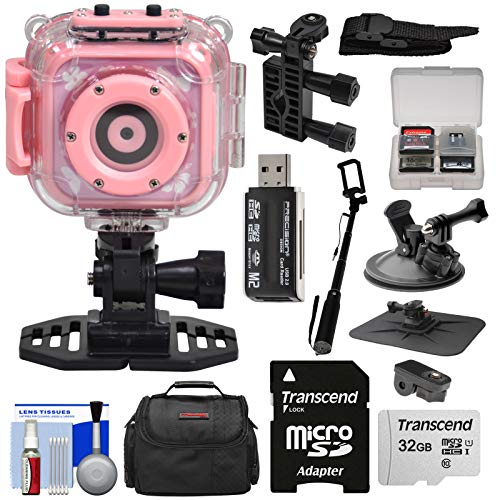 Precision Design K1 Kids HD Action Camera Camcorder (Pink) with Helmet, Handlebar Bike, Suction Cup & Dashboard Mounts + 32GB Card + Case + Kit