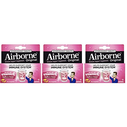 : Airborne Pink Grapefruit Effervescent Tablets, 30 count (3 Packs x 10 cnt) 1000mg, Vitamin C - Immune Support Supplement