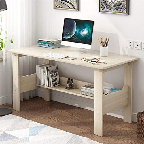 Lataw Computer Desk, Simple Modern PC Laptop Writing Study Table with Storage Shelves Gaming Computer Table Workstation Wood Desktop for Home Office Furniture (Ship from USA) (White)