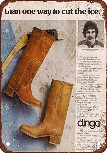 - Puernash 1976 Derek Sanderson for Dingo Boots 12 X 16In. Tin Sign Wall Sign for Home Bathroom and Cafe Bar Pub, Wall Decor