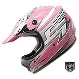 SmartDealsNow - HHH DOT Youth & Kids Helmet for Dirtbike ATV Motocross MX Offroad Motorcyle Street bike PINK STRIPES (Small)