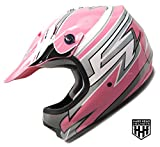 SmartDealsNow - HHH DOT Youth & Kids Helmet for Dirtbike ATV Motocross MX Offroad Motorcyle Street bike PINK STRIPES (Large)
