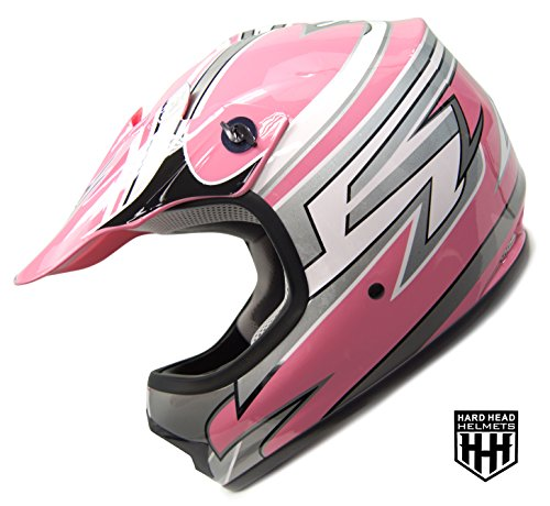 SmartDealsNow - HHH DOT Youth & Kids Helmet for Dirtbike ATV Motocross MX Offroad Motorcyle Street bike PINK STRIPES (Small)