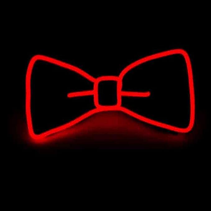 Pajarita luminosa neón con luces led de color rojo