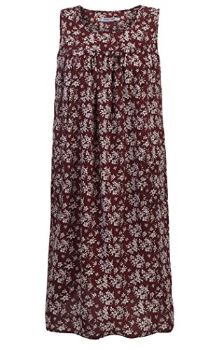 - Sleeveless Shift Dress Sundress Floral Print House Dresses for Women with Pockets (XXL, Wine Red)