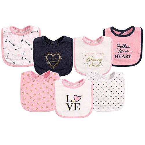 (Hudson Baby Baby Cotton Drooler Bibs, 7 Pack, Love, One Size)