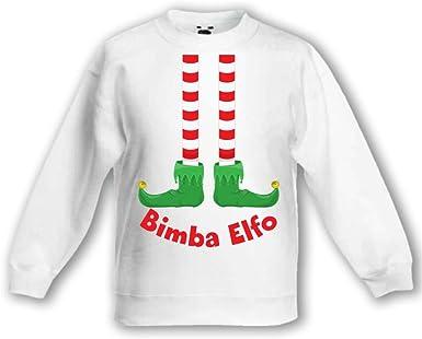 Felpa Bimbo Bambino Idea Regalo di Natale Bimba Elfo Bianca