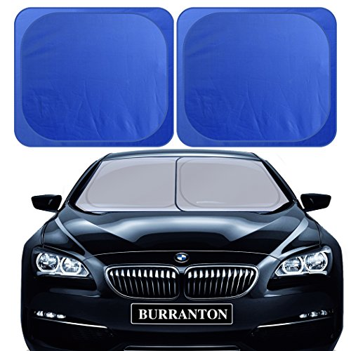 2 Piece Universal Fit Car - BURRANTON 2 Pieces Car Windshield Sunshade - Universal Fit Separate Foldable 31