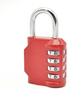 Combination Lock with 4 Digit Padlock Made from Zinc Alloy Suitable for School and Gym Locker,Toolbox,Fence,Cabinet,Storage (red)
