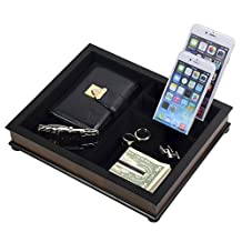 Top Quality Mens Wood Valet Storage Box Organizer Charging Station Dimensions 12 in x 9 in x 5 in