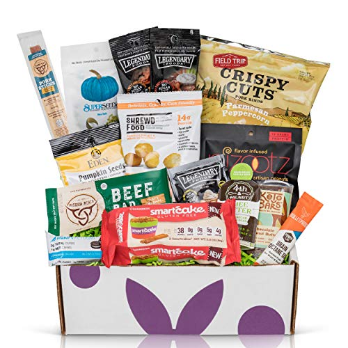 (Low Carb KETO Snacks Box: Low Sugar High Fat Ketogenic Diet Snacks, Cookies, Protein Bars, Beef Sticks & Pork Rinds, Premium Keto Gift Care Package)