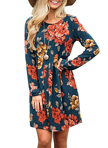 Women's Casual Floral Round Neck Long Sleeve Tunic Pleated Swing Midi T-shirt Dress