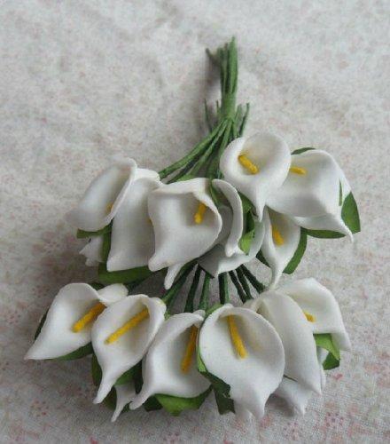 Bigoneshop 1 X Lot of 144 White Artificial Silk Mini Calla Lily Foam Flower Favor Box Craft Card Scrapbook