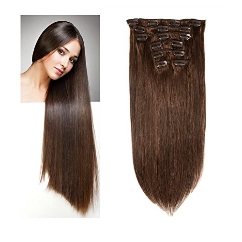 Lovbite Hair Straight Hair Extensions Clip in Human Hair Double Weft 16