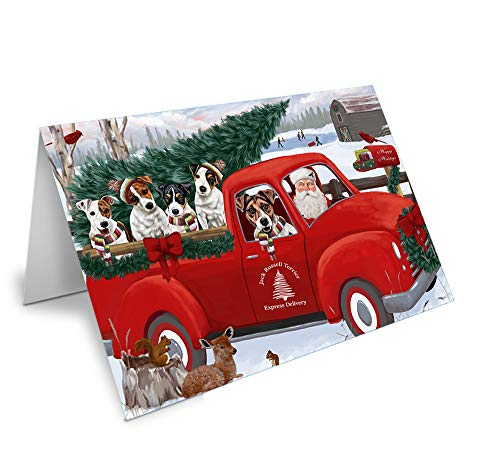 Jack Russell Christmas Cards - Christmas Santa Express Delivery Jack Russell Terriers Dog Family Greeting Card GCD68963 (10)
