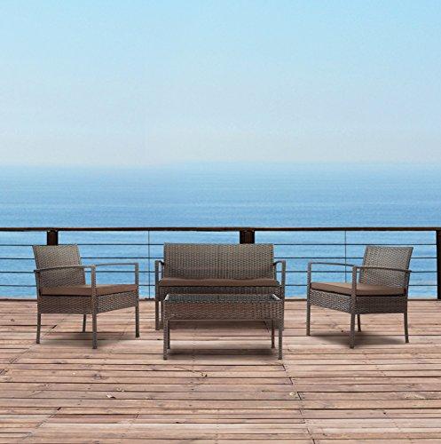 Modern Outdoor Garden, Patio 4 Piece Set - Wicker Sofa Furniture Set (Brown/Brown) (Outdoor Furniture Clearance Walmart)