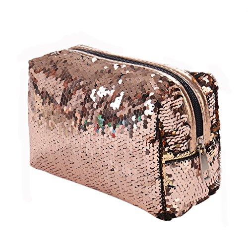 Dabixx donne paillettes trucco caso penna matita borsa cerniera portamonete purse-silver blu, Silver Blue, 16x8.5x15cm/6.3x3.35x5.91 Champage
