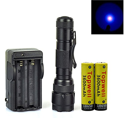 Topwell® Wf-502b UV-Ultraviolet Led Blacklight Single Mode Flashlight Torch 18650 Rechargeable Battery UV Ultraviolet Blacklight Flashlight Torch with Money Detector, Leak detector and Cat-Dog-Pet Urine Detector Function (Batteries included)