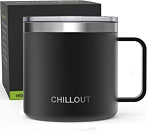 16 oz Stainless steel Vacuum Insulated Coffee Mug with Handle and Lid, Large Thermal Camping Coffee Mug Cup with Durable Sliding Lid for Men & Women - Keeps your Beverages Hot/Cold for a Long Time