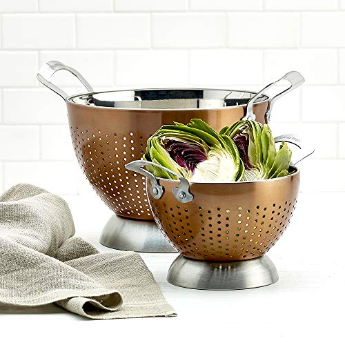 Epicurious 2 Piece Stainless Steel Tall Free Standing Sturdy Colander Strainer Rinsing Bowl Set with Handles and Footed Base, 5 Quart and 1.5 Quart Sizes
