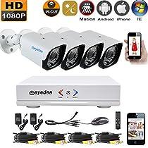 Eyedea 4 CH L 1080P Motion Detection Remote Phone View DVR 5500TVL 2.0MP Bullet Outdoor Night Vision Video Surveillance CCTV Security Camera System