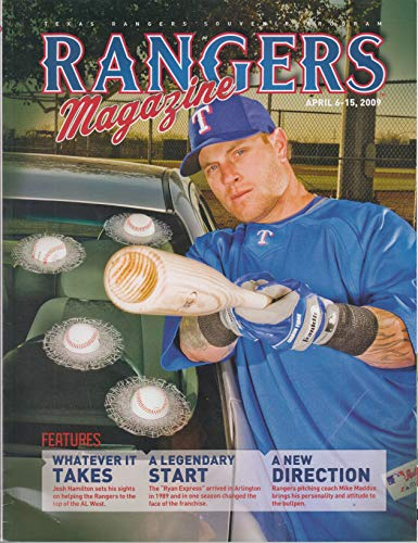 2009 Texas Rangers Souvenir Program Magazine ~ April 6-15, 2009~ Josh Hamilton cover