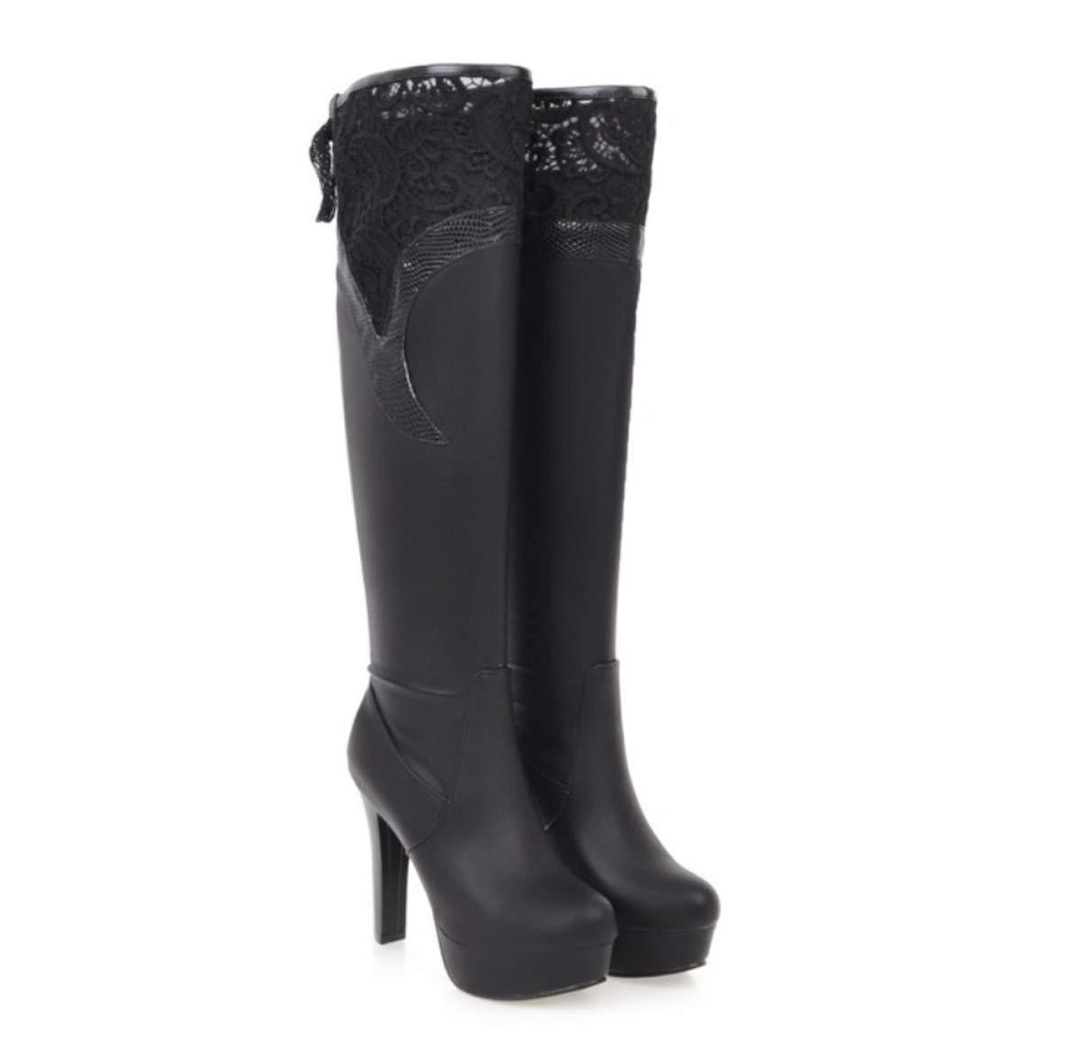 DANDANJIE Damenmode Stiefel Winter Sexy Stiefel Chunky Heel Kniehohe Stiefel Weiß Schwarz