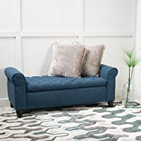Charlemagne Dark Blue Tufted Fabric Armed Storage Bench