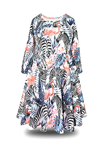ModaIOO Gilrs Tropical Flamingo Zebra Long Sleeve Dress(7, Zebra/LS) (Girls Dress Zebra)