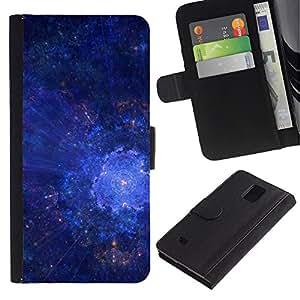 LASTONE PHONE CASE / Lujo Billetera de Cuero Caso del tirón Titular de la tarjeta Flip Carcasa Funda para Samsung Galaxy Note 4 SM-N910 / Universe Galaxy Stars Art Blue Cosmos Explosion