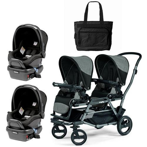 Peg Perego – Duette Piroet Atmosphere Double Car Seat Travel System with Diaper Bag For Sale