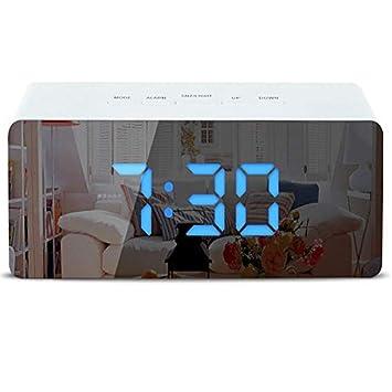 Espejo Reloj despertador Reloj digital Pantalla LED - Tiempo snooze Temperatura Brillo atenuador - Reloj de