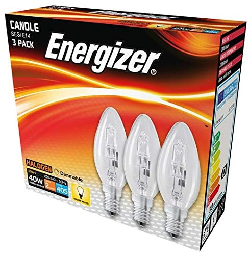 Energizer 30w (40w) Eco Halogen Candle Bulbs SES e14 Small Screw in Dimmable Warm White Pack of 12 Foglish