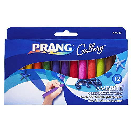 (Prang Gallery Ambrite Paper Chalk, Colored Chalk for Use on Wet or Dry Paper, Tapered, Assorted Colors, 12-Pack (53012))
