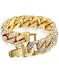 Davieslee Mens Womens Chain Hiphop Iced Out Curb Cuban...