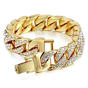 Davieslee Mens Womens Chain Hiphop Iced Out Miami Curb Cuban Gold Plated Bracelet Necklace with Clear Rhinestones