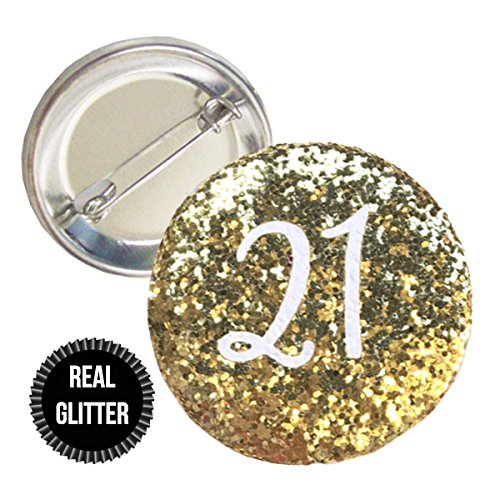 1 Piece Age Number 18 21 30 40 50 60 70 80 Real Chunky Sparkly Glitter badge pin pinback button birthday party favors gift