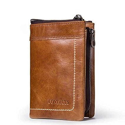 b1b5fe2903 Modesty-Portafoglio uomo vera pelle di vacchetta con carta di credito  titolare Zip borsa regalo inscatolato (marrone)-QB011-BR: Amazon.it: Casa e  cucina