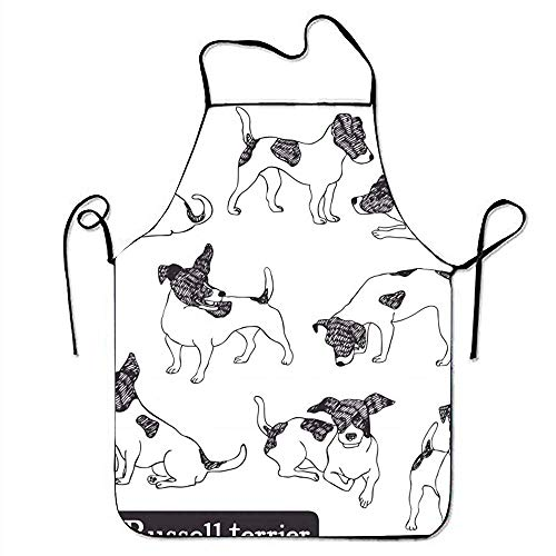 GOOESING Funny Design Apron and Funny Vegan Kitchen and Baking Jack Russell Terrier Set Bib High Waist for Women Men Waitress Chef Home Barber Kitchen Gardening ()