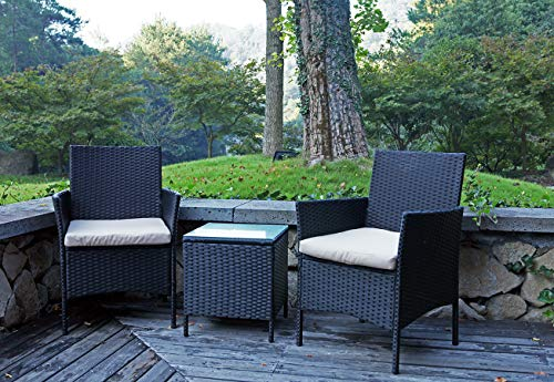 United Flame Cafe sets 3PCS Outdoor Patio Furniture Sets Black Rattan Chair Wicker Set Backyard Porch Lawn Garden Balcony Furniture Set with Cushions and Glass Table All Weather Furniture Set - 【Durable】ALL-WEATHER RATTAN set is a good choice for patio, porch, backyard, balcony, poolside, garden and other suitable space, withstand high temperature, rain and wind. 【COMFORTABLE CONSTRUCTION】The chairs are the most humanized design through many experiments design and gives you a excellent experience. 【HIGH QUANTITY】The café set include two wicker chairs with steel frame and all-weather wicker, a table with tempered glass,. is very light but also durable enough for long time use - patio-furniture, patio-chairs, patio - 51hJmTQu6nL -