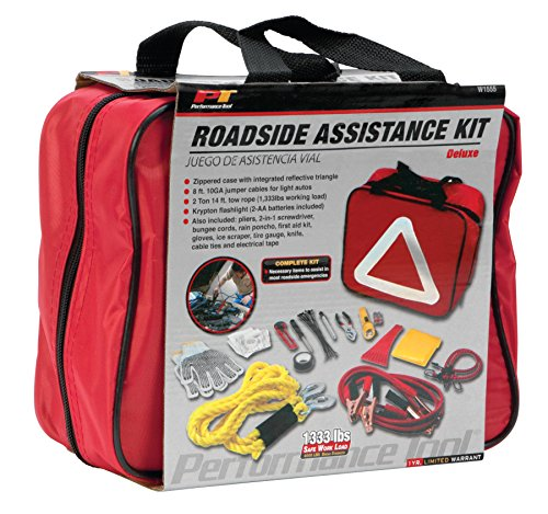 (Performance Tool W1555 Deluxe Roadside Emergency Assistance Kit with Jumper Cables)