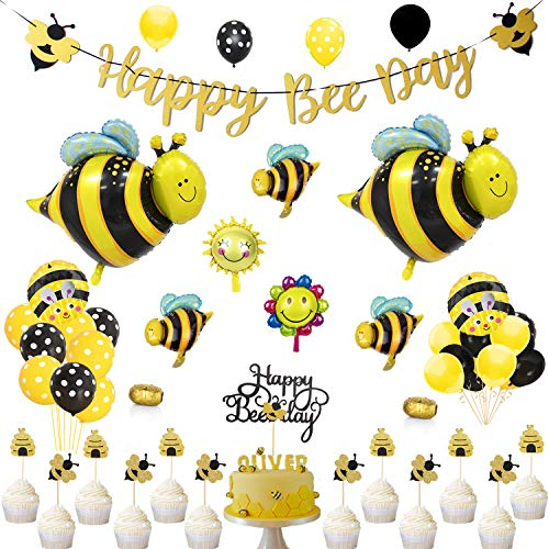 - SILBLASSYU Bee Party Decorations Set - Bee Party Supplies with Happy Bee Day Gold Glitter Banner&Happy Bee Day Cake Topper,Bee Balloons,Glitter Bee Cupcake Toppers,20 Polka Dot Balloons,20 Yellow&Black Balloons for Bee Birthday Party,Bee Baby Show