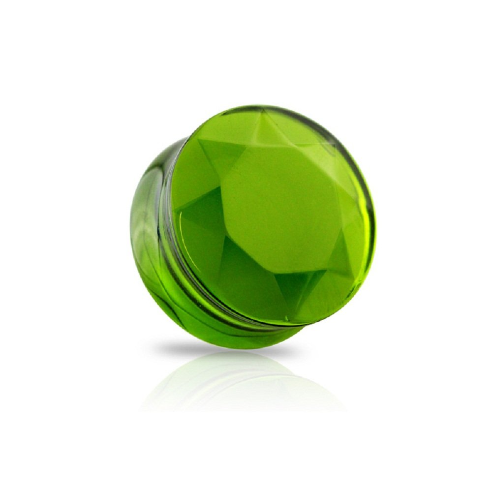 Freedom Fashion Faceted Glass Cut Double Flared Plug (Sold by Pair) (1'' (25mm), Green)