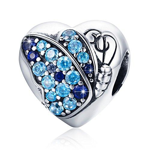 BAMOER 925 Sterling Silver Heart Charm Bead Love Charm Fit for Snake Chain Bracelet Butterfly (Silver Butterfly Heart)