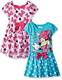 Disney Little Girls' 2 Pack Love Minnie Dresses, Pink, 3T