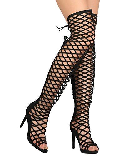 Sexy Womens Shoes (Breckelles Selena42 Womens Thigh High Criss Cross Cut Out Open Toe Dress Sandals,Black,7)