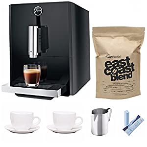 Jura A1 Ultra Compact Coffee Center 15148 with P.E.P. Includes Jura Filter Care Cartridge, Frothing Pitcher, Coffee Beans and Set of 2 Ceramic Cups and Saucers