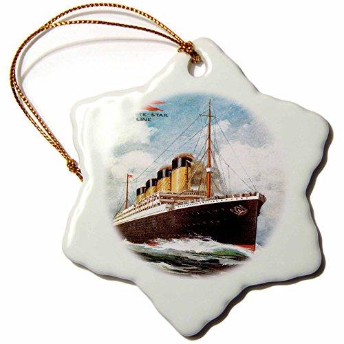 3dRose orn_149236_1 Vintage White Star Line S.S. Titanic Snowflake Ornament, Porcelain, (Porcelain Star Ornament)