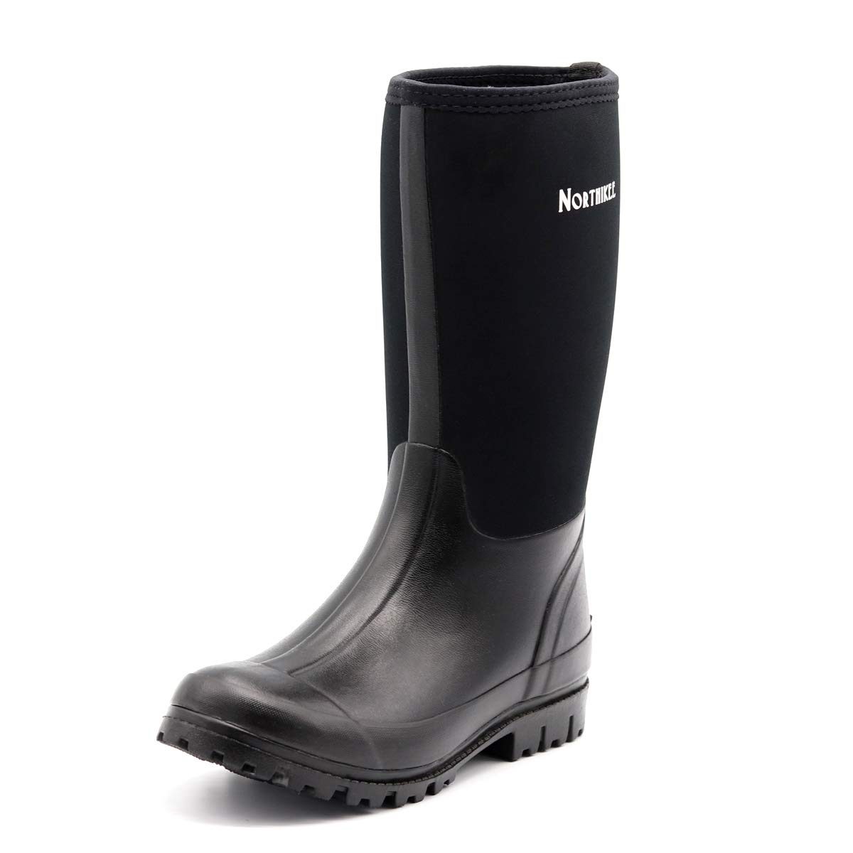 Northikee Men's Rain Boots Rubber Hunting Insulated Waterproof Slip Resistant Neoprene Black Outdoor Snow Durable Boots
