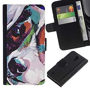 EuroCase - Samsung Galaxy S4 IV I9500 - jack russell terrier art painting dog - Cuero PU Delgado caso cubierta Shell Armor Funda Case Cover